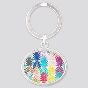 Hawaiian Pineapple Pattern Tropical  Oval Keychain