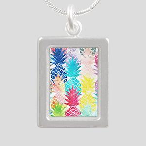 Hawaiian Pineapple Patte Silver Portrait Necklace