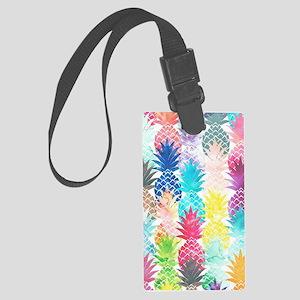 Hawaiian Pineapple Pattern Tropi Large Luggage Tag