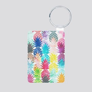 Hawaiian Pineapple Pattern Aluminum Photo Keychain