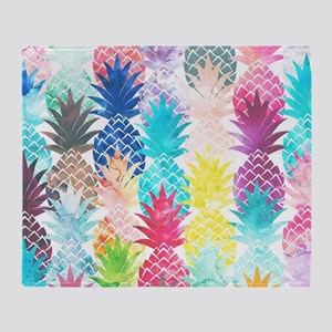 Hawaiian Pineapple Pattern Tropical  Throw Blanket