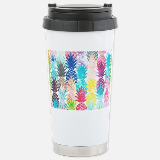 Hawaiian Pineapple Patt Stainless Steel Travel Mug