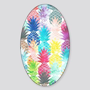 Hawaiian Pineapple Pattern Tropical Sticker (Oval)