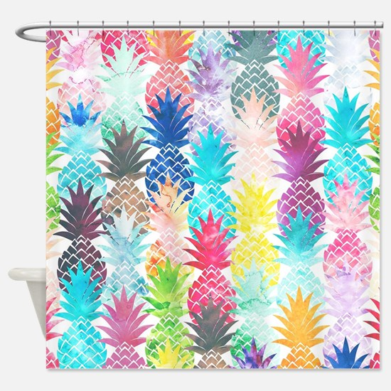 Hawaiian Pineapple Pattern Tropical Shower Curtain