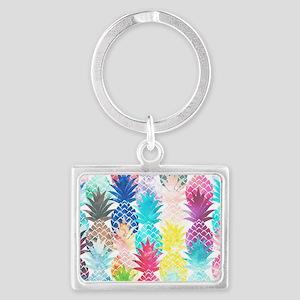 Hawaiian Pineapple Pattern Trop Landscape Keychain