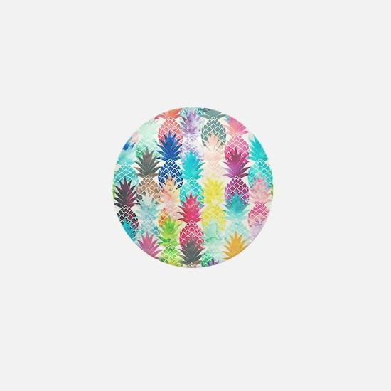 Hawaiian Pineapple Pattern Tropical Wa Mini Button