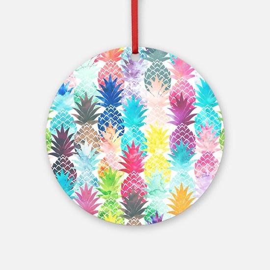 Hawaiian Pineapple Pattern Tropical Round Ornament