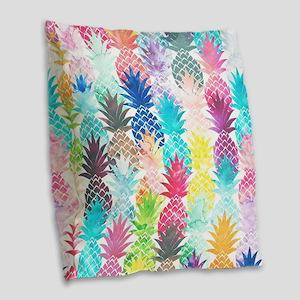 Hawaiian Pineapple Pattern Tro Burlap Throw Pillow