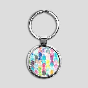 Hawaiian Pineapple Pattern Tropical Round Keychain