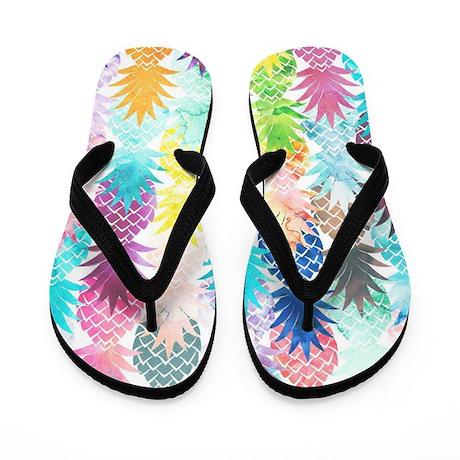 Hawaiian Pineapple Pattern Tropical Wat Flip Flops
