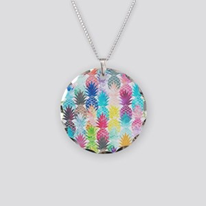 Hawaiian Pineapple Pattern T Necklace Circle Charm