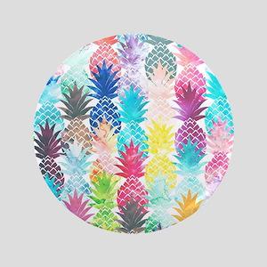 Hawaiian Pineapple Pattern Tropical Waterco Button