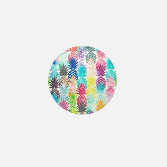 Hawaiian Pineapple Pattern Tropical Wa Mini Button