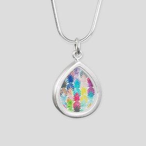 Hawaiian Pineapple Patte Silver Teardrop Necklace