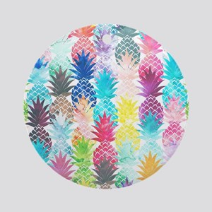Hawaiian Pineapple Pattern Tropical Round Ornament