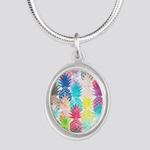 Hawaiian Pineapple Pattern Tr Silver Oval Necklace