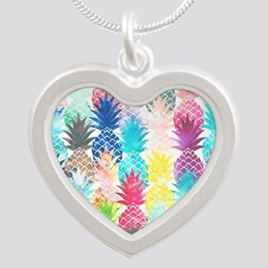Hawaiian Pineapple Pattern T Silver Heart Necklace
