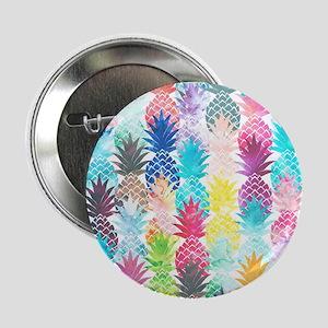 "Hawaiian Pineapple Pattern Tropical W 2.25"" Button"