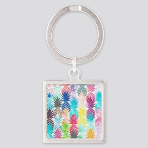 Hawaiian Pineapple Pattern Tropica Square Keychain