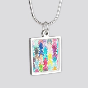 Hawaiian Pineapple Pattern Silver Square Necklace
