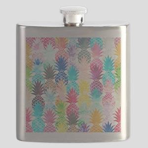 Hawaiian Pineapple Pattern Tropical Watercol Flask