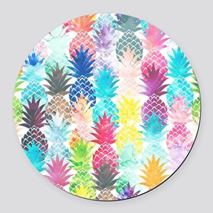 Hawaiian Pineapple Pattern Tropic Round Car Magnet