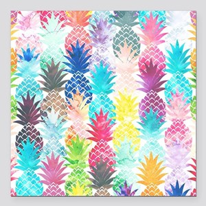 "Hawaiian Pineapple Patte Square Car Magnet 3"" x 3"""