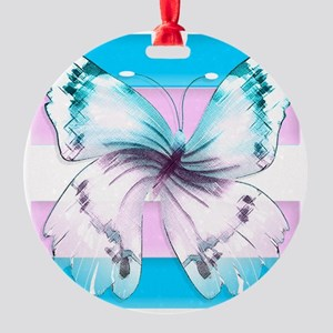 Transgender Butterfly Of Transition Round Ornament