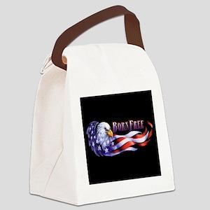 Born Free Bald Eagle And USA Flag Canvas Lunch Bag