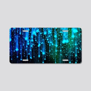 Blue Sparkles Aluminum License Plate