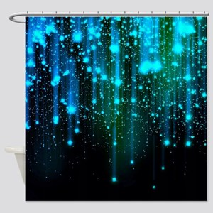 Blue Sparkles Shower Curtain