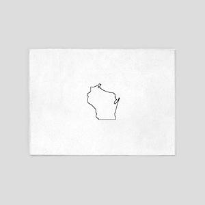 Wisconsin Outline 5'x7'Area Rug