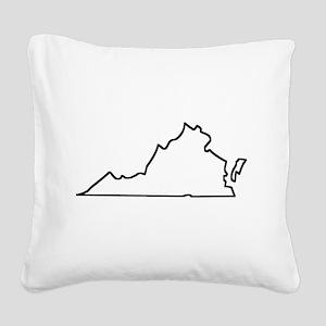 Virginia Outline Square Canvas Pillow