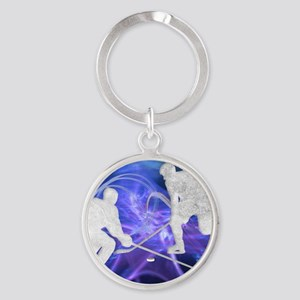 Ice Hockey Players Fighting for the Round Keychain
