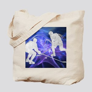 Ice Hockey Players Fighting for the Puck Tote Bag