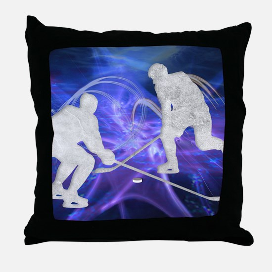 Ice Hockey Players Fighting for the P Throw Pillow