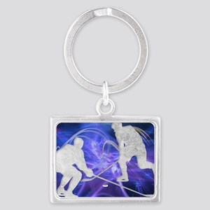 Ice Hockey Players Fighting for Landscape Keychain