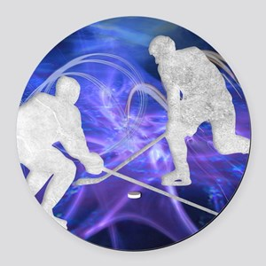 Ice Hockey Players Fighting for t Round Car Magnet