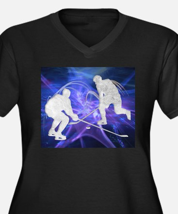 Ice Hockey Players Fighting for Plus Size T-Shirt