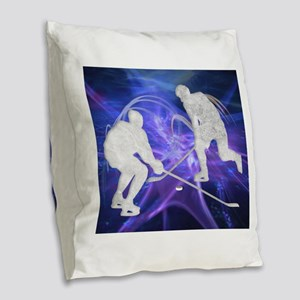 Ice Hockey Players Fighting fo Burlap Throw Pillow