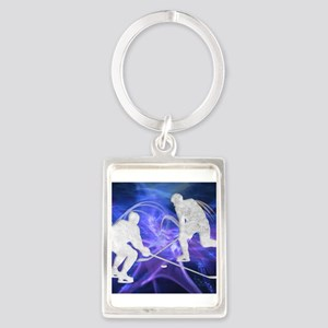 Ice Hockey Players Fighting for th Keychains