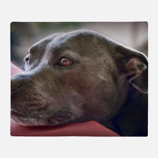Loving Pitbull Eyes Throw Blanket