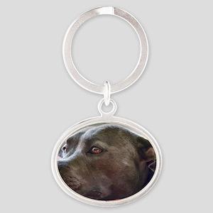 Loving Pitbull Eyes Oval Keychain