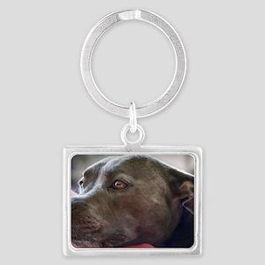 Loving Pitbull Eyes Landscape Keychain