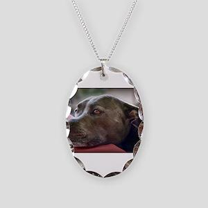 Loving Pitbull Eyes Necklace Oval Charm
