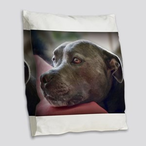 Loving Pitbull Eyes Burlap Throw Pillow