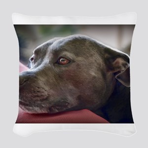 Loving Pitbull Eyes Woven Throw Pillow