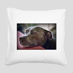 Loving Pitbull Eyes Square Canvas Pillow