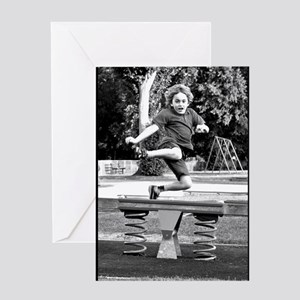 Playground Frolic - monochrome 6:9 - Greeting Card