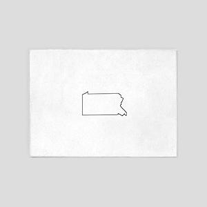 Pennsylvania Outline 5'x7'Area Rug